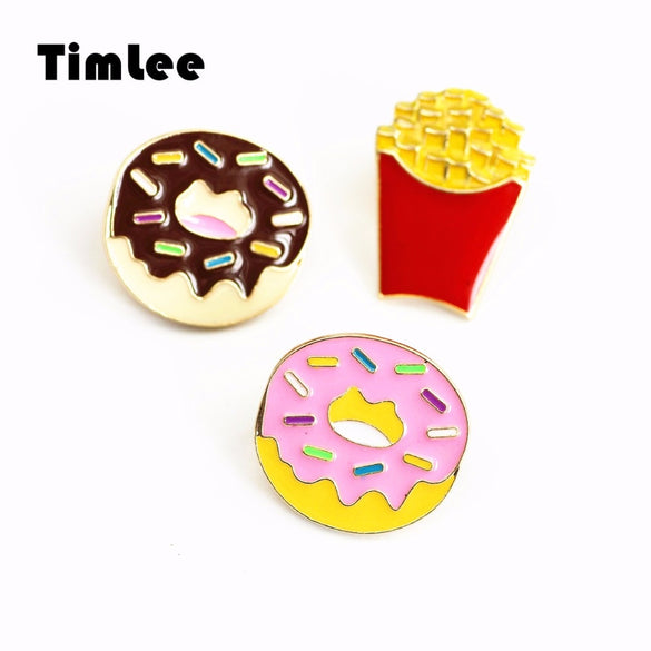 Timlee X285 Cartoon Snacks Doughnut French Fries Popcorn  Metal Brooch Pins Gift Wholesale
