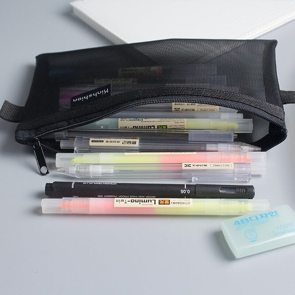 Simple Design Transparent Mesh Pencil Case Student Study Pencil Cases Nylon Kalem Kutusu School Office Supplies Pen Box Astuccio