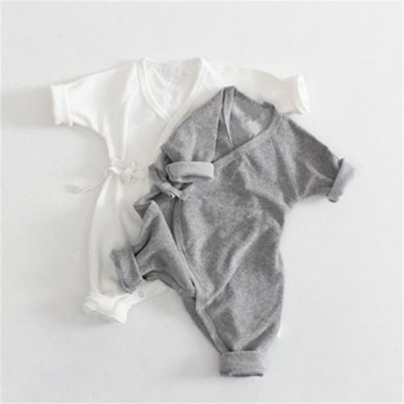 Cute Baby Girl Boy Belt Romper with Little Angel Wings Solid Grey White Babies Clothes 2017 Hot Spring Autumn Baby Cotton Romper