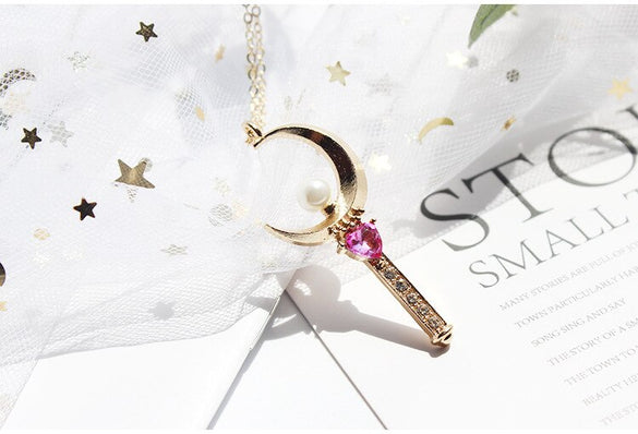 high quality ffashion jewelry accessories metal star sailor moon heart key necklace