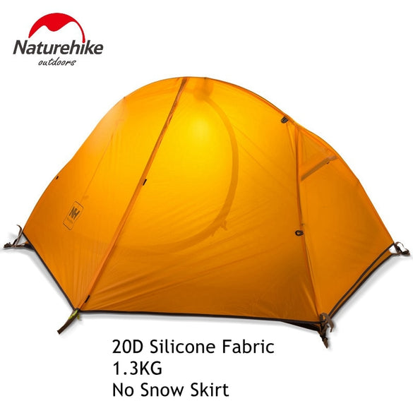 1.3KG Naturehike Tent 20D Silicone Fabric Ultralight 1 Person Double Layers Aluminum Rod Hiking Tent 4 Season With Camping Mat