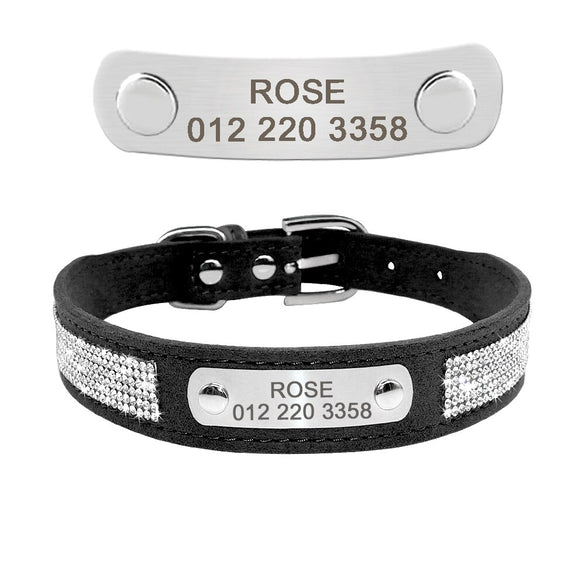 Soft Rhinestone Engraved Dog Collar For Small Medium Dogs Custom Suede Leather Chihuahua Puppy Cat Pet Collars With Phone ID Tag