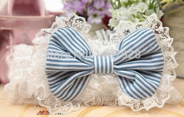 Hot child stripe bow lace Headwear Kids pictures princess tiara hair accessories wholesale A157