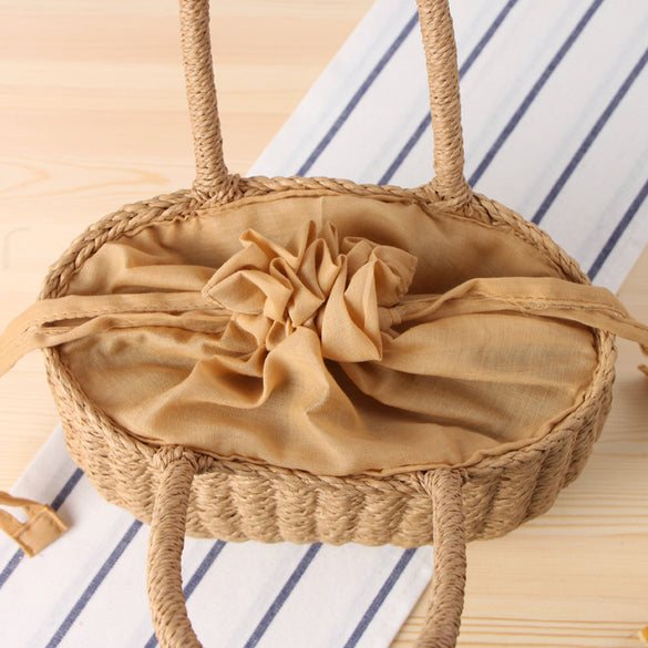 DCOS-Fashion Summer Beach Bag Handmade Bag Rattan Basket Bag Women Holiday Bohemian Bag Small Tote