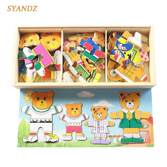 4 Kinds Baby Wooden Toys Wooden Dress Up Bear Dressing Jigsaw Puzzle Kids Dress Changing Educational Montessori Toys Child Gift