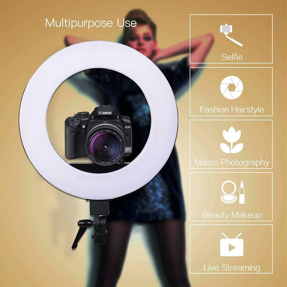 Zomei 18'' Dimmable Photographic Lighting Studio Video LED Ring Light 3200-5600K for Smart phone Makeup Live Youtube portrait