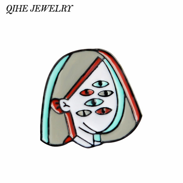 QIHE JEWELRY Picasso Eyeball Face Women Enamel pins Art Brooches Badges Lapel pins Brooches for men women girl