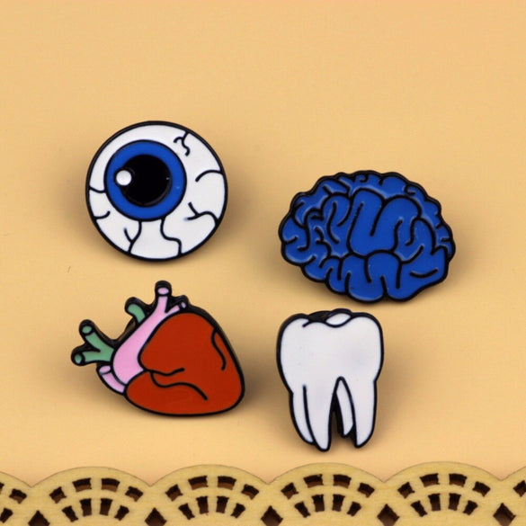 Timlee X015 Cartoon Cute Brain Heart Eye Tooth Metal Brooch Pins Button Pins Girl Gift Wholesale