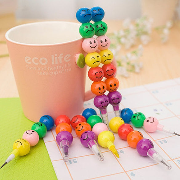 1pcs 7 Color Crayons Art Supplies for Kids Pastel Pen Drawing Set Stationery Smiley Face Crayons Kawaii School Supplies Drawing