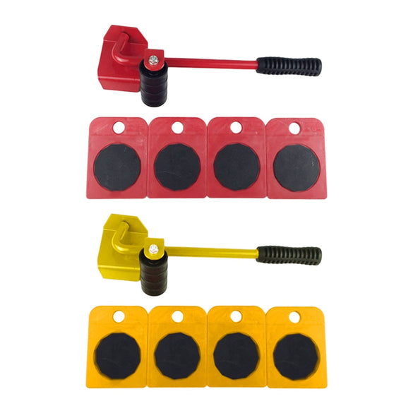 5pcs/set Furniture Moving Transport Set 4 Mover Roller+1 Wheel Bar Furniture Transport Lifter Household Hand Tool Set