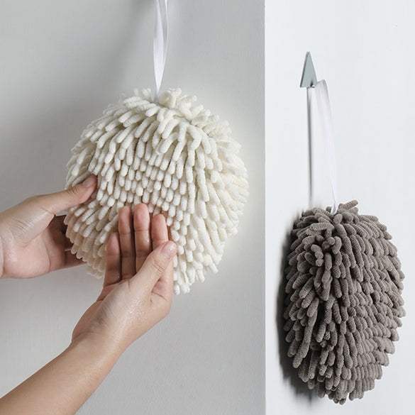 Chenille Hanging Hand Towel Water Absorbent Solid Color Soft Comfortable Towel Kitchen Bathroom Cleaning Tools Home Accessories