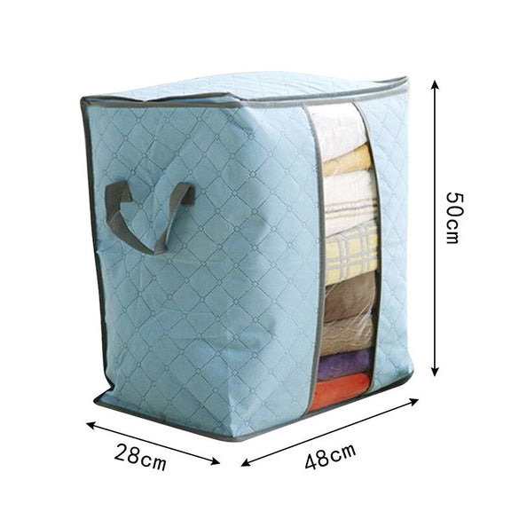 Lasperal Quilt Storage Bags Cotton Home Storage Organizer Portable Anti-dust Wardrobe Bamboo Clothes Bag Pouch Storage Box