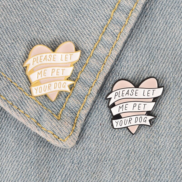 Pink heart banner enamel pin white black pet dog related Brooch Gift Animal Button Badge Cap Clothes lapel pin jewelry gift