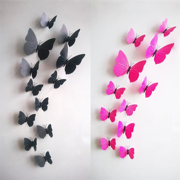 12pcs Creative Wedding Decoration 3D Fridge Butterfly Decor Wall Sticke Kids Window Shop ETH002. Home decor