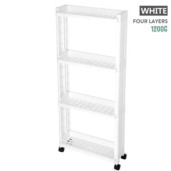 BNBS The Goods For Kitchen Storage Rack Fridge Side Shelf 2/3/4 Layer Removable With Wheels Bathroom Organizer Shelf Gap Holder