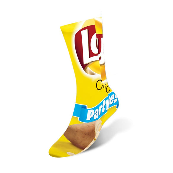 1 pair Funny Unisex Men Art Socks women printing Potato chips Knee High Socks cotton art Long socks For men 8S-D15