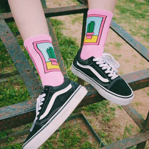 Summer Women Skateboard Cool Cactus Patterned Funny High Socks Hipster Harajuku Women Customized Cotton Cool Ins Style Skate Sox