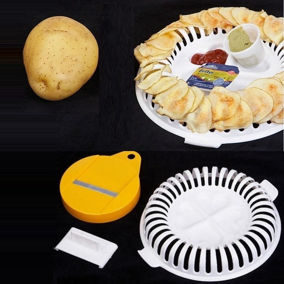 Microwave Oven Fat Potato Chips Maker Apple Fruit Potato Crisp Chip Slicer Snack Maker DIY Set Tray Kitchen Tool Random Color