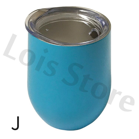 12oz Stemless Wine Cups Stainless Steel Egg Shape Beer Cup Insulated Thermos Wine Tumbler Mug Marble Slab For Christmas Gift