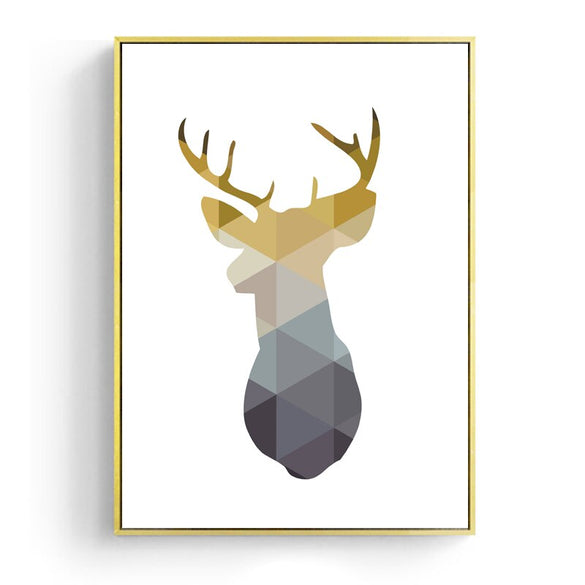 Nordic Canvas Posters And Prints Wall Art Geometric Deer Painting Wall Pictures for Home Decoration, Gold Heart Wall Decor