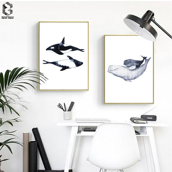 Watercolor Whales Canvas Artwork Posters and Prints Wall Art Painting Wall Pictures For Living Room Nordic Picture Decoration