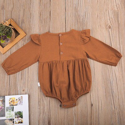Cute Infant Baby Girls Clothing Autumn Long Sleeve Cotton Romper Toddler Kids Playsuit Outfits