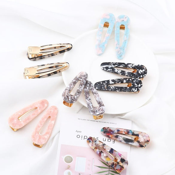 2Pcs Japan Women Acetic Acid Hair Clips Hairpins Leopard Print Waterdrop Barrettes Girls Hairgrips Hair Accessories