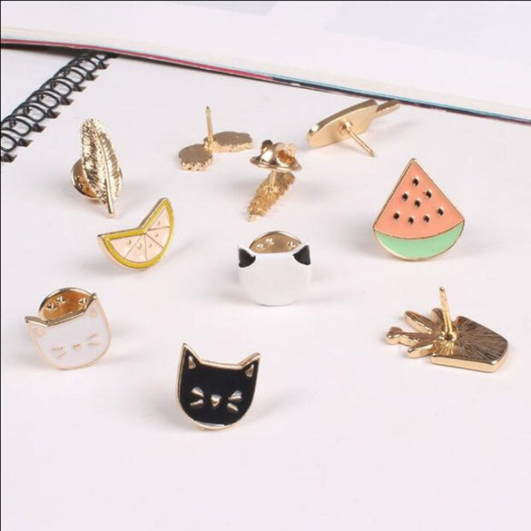 Timlee X002  Free shipping Cute Fruit Cat Sunglass Leaf Orange Pot Ice cream Watermelon Brooch Pins,Fashion Jewelry Wholesale