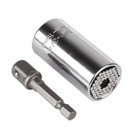Torque Wrench Head Set Socket Sleeve 7-19mm Power Drill Ratchet Bushing Spanner Key Gator Multi Hand Tools (Silver)
