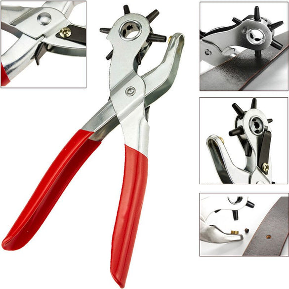 Leather Belt Hole Punch Plier Eyelet Puncher Revolve Sewing Machine Bag Setter Tool Watchband Strap Household leathercraft