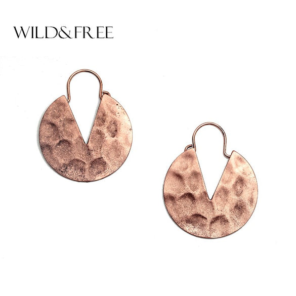 Wild&Free Vintage Alloy Hammered Round Earrings for Women Triangle Cut Out Drop Earrings Fashion Jewelry Mulheres