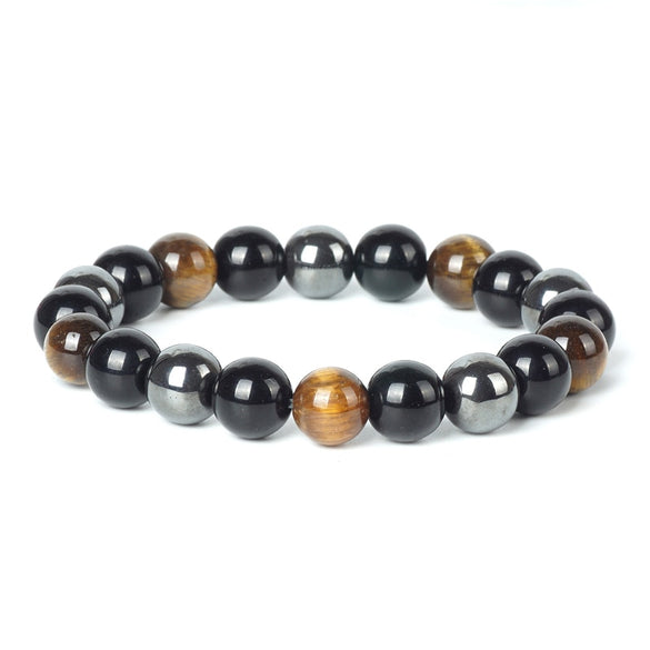 TopGoods Natural Hematite Tiger Eye Black Obsidian Stone Bracelet for Women 10mm Beaded Men Magnetic Health Protection Bracelets (3 Color About 19cm)
