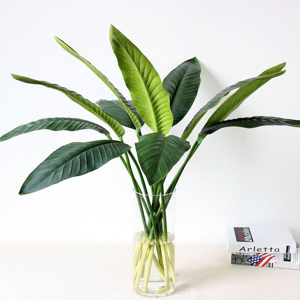 Artificial Flowers Leaves Green Artificial Plant Floral Home Wedding Christmas Decor PU Real Touch Bird Of Paradise Leaf