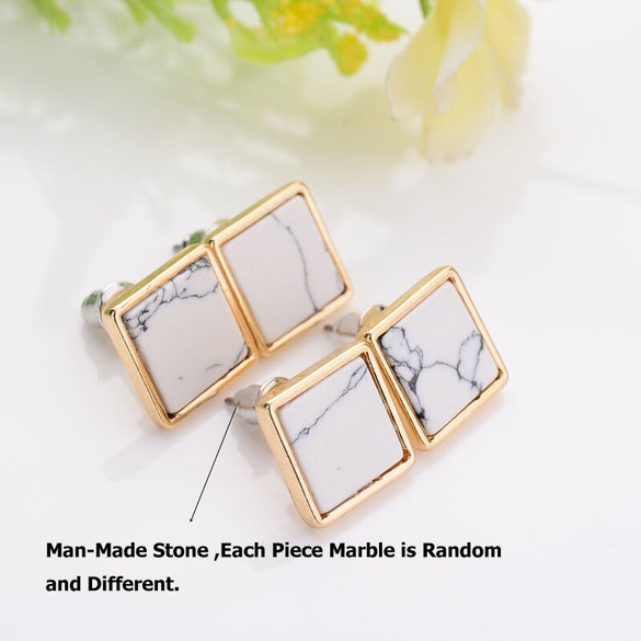 New Arrival 2017 Trendy Gold Fashion Square Triangle Round Geometric Marbled White Faux Stone Stud Earrings For Women