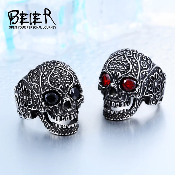 BEIER Wholesale Classic Garden Flower Skull Ring For Man Stainless Steel Man's Punk Style Jewelry BR8-071 US Size