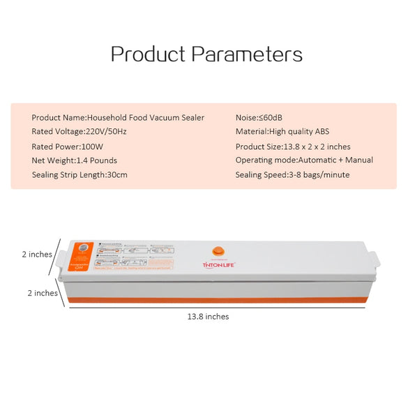 Vacuum Sealer Packaging Machine 220V/110V Household Food Vacuum Sealer Film Sealer Vacuum Packer Including 15Pcs Bags