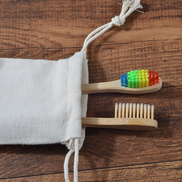 Reusable Produce Toothbrush Bags Eco-Friendly Washable Organic Cotton Tooth Brush Travel Tote Storage Bags