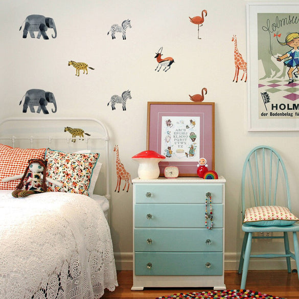 BalleenShiny 24pcs/set Nordic Style Forest Animal Wall Decals  Woodland Tree Nursery Vinyl Wall Sticker Children Room Wall Decor