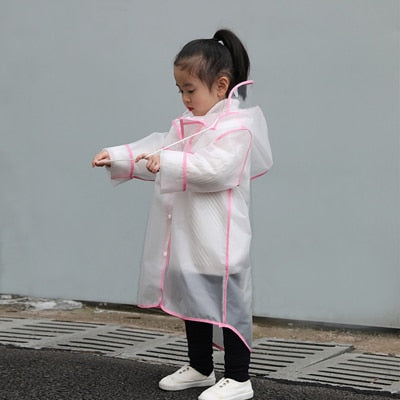 Children's Hooded Transparent Raincoat