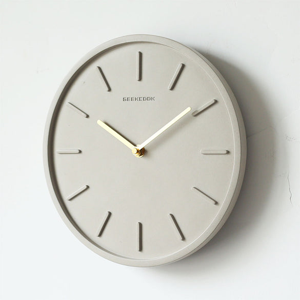 Nordic Cement Wall Clock with Metal Pendulum Bedroom Silent Needle Clock Living Room Industrial Wind Decor 10 inch Round Clocks
