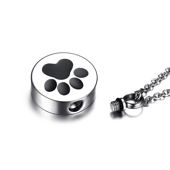 Paw Print Pet Urn Pendant Necklace for Men Women Stainless Steel Tone Ashes Holder Cremation Jewelry 20 inch