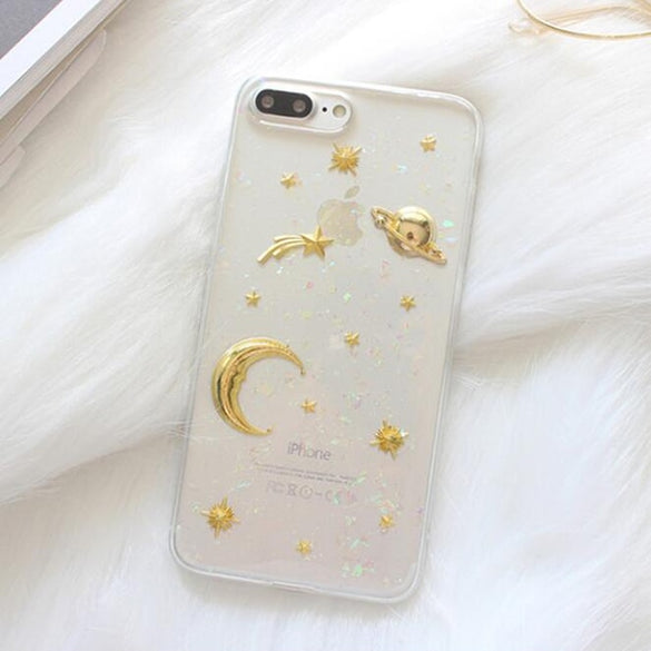 LACK Gold Moon Stars Planet Phone Case For iphone X Case For iphone 6S 6 7 8 Plus Bling Glitter Universe Series Cover Cases Capa