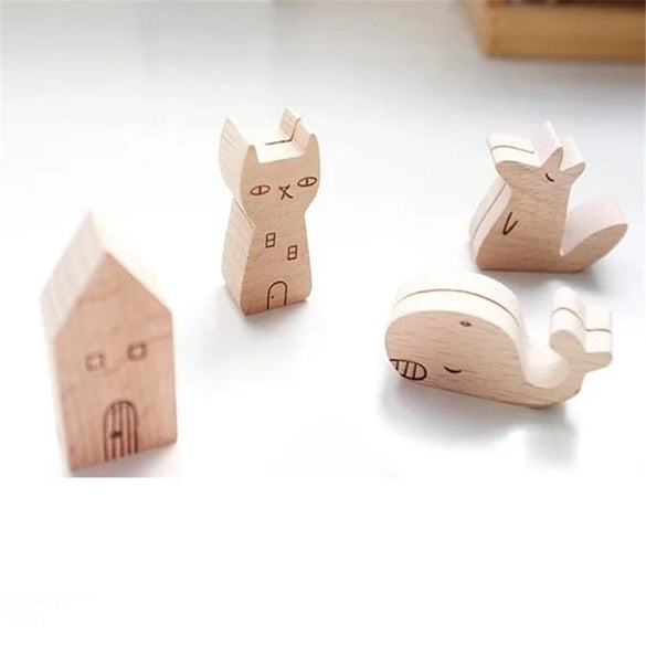 Coloffice Original Cartoon Cute Animal Shape Wooden Ceative Business Card Photo Folder Sticky Note Folder Office Supplies 1PC