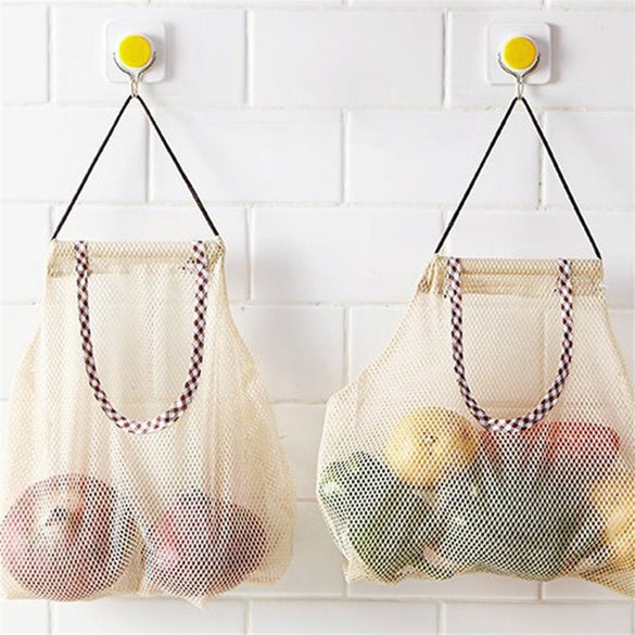 Hanging Mesh Storage Bag Kitchen Vegetable Bag Onion Potato Storage Hollow Breathable Mesh Bags Garlic Ginger Home Cosmetic