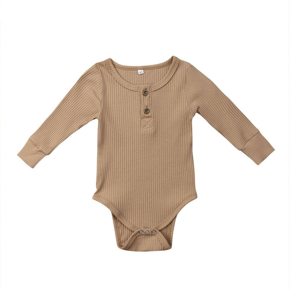 Newborn Baby Kids Girls Boys Clothes Clothing Bodysuit Cotton Long Sleeve Unisex Jumpsuit One-Pieces Ribbed Climbing Suit 0-24M