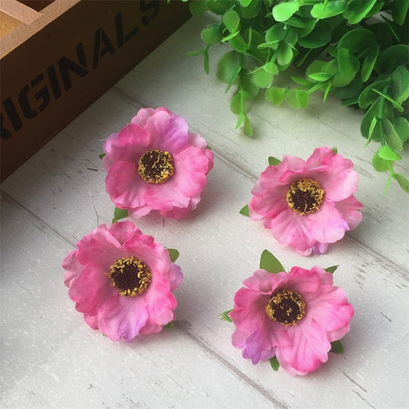 100pcs/lot 4Cm Mini Silk Cherry Blossoms Small Artificial  Rose Flowers Heads Poppy Wreath Wedding Decoration For Scrapbooking