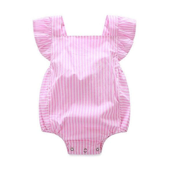 2016 New Bodysuits Newborn Infant Baby Girl Clothes Stripe Cotton Quality Bow Casual Pink Jumpsuit Sunsuit Bodysuit Baby Girl