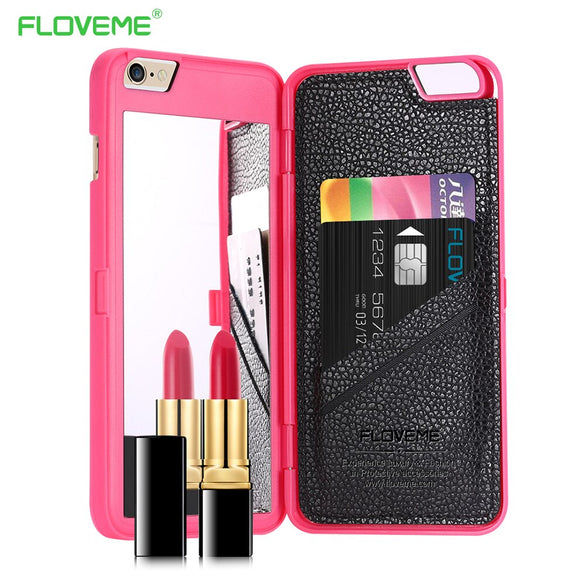 FLOVEME Mirror Case for iPhone 6 6s Plus Case For iPhone XS MAX XR X 8 7 Plus Cover Girl Makeup Flip Wallet+Card Slot Phone Case
