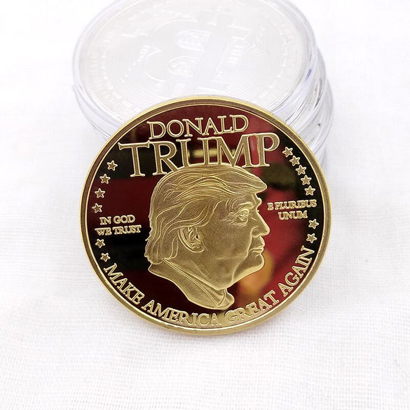 Gold Coin American 45th President Donald Trump Coin US White House The Statue of Liberty Silver Metal Coin Collection Mar21