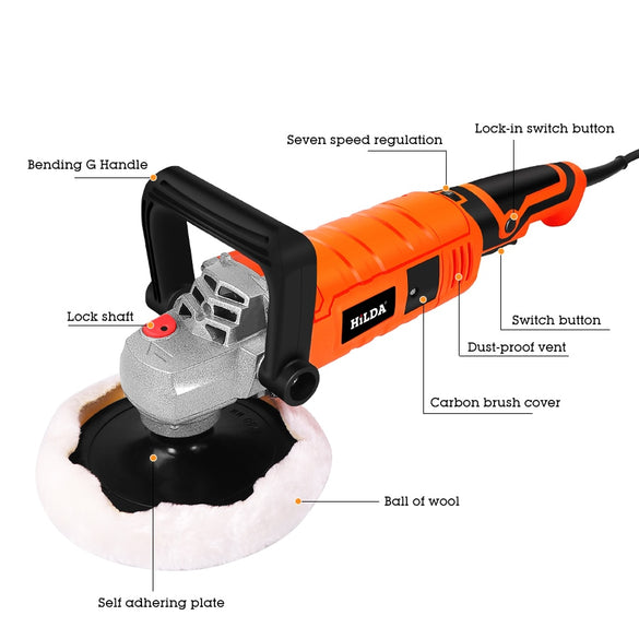 1200W Car Polisher Variable Speed 3000rpm Car Paint Care Tool Polishing Machine Sander 220V M14 Electric Floor Polisher